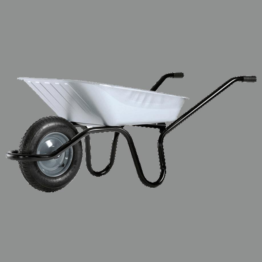 Строителна количка DJTR 090 AKTIV SOFT HM - общ изглед: монолитна рамка, поцинковано корито, пневматично ходово колело