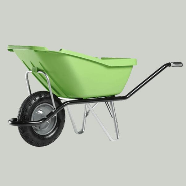 Строителна количка DJTR 110 HM зелена - общ изглед: зелено полипропиленово корито, стоманена тръбна рамка, едно ходово колело.