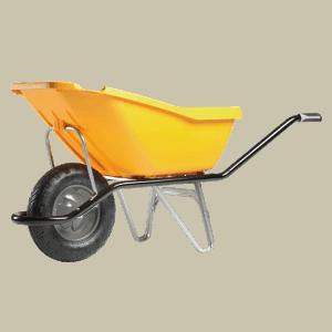 Строителна количка DJTR 110 HM, жълта със стоманена рамка, полипропиленово корито, едно ходово колело.
