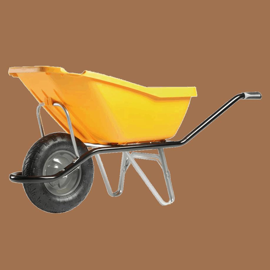 Строителна количка DJTR 110 CARGO PICK UP HM, жълта със стоманена рамка, полипропиленово корито, едно ходово колело.