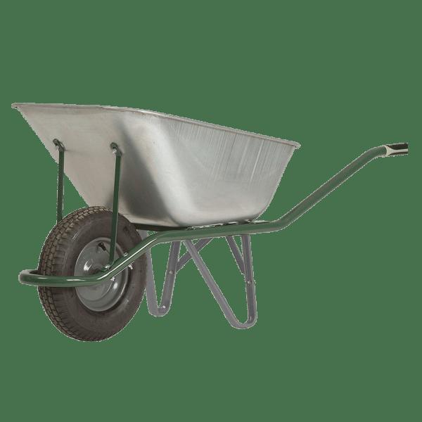 Строителна количка DJTR 120 HM - общ изглед: поцинковано корито от стоманена ламарина, тръбна рамка, едно пневматично колело.