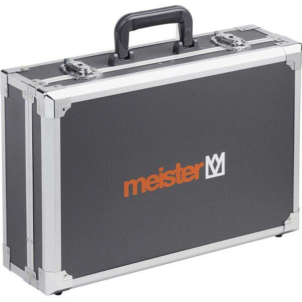 Куфар с инструменти Meister 116 части в затворено положенив. Елегантен метален куфар с усилващи метални лайсни по ръбовете.