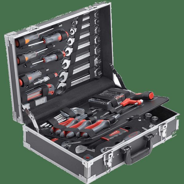 Куфар с инструменти Meister 116 части. Вижда се как са разположени инструментите и средния сепаратор, на които също има инструменти.