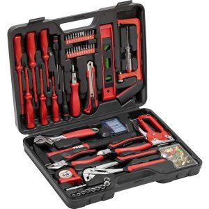 Кутия с инструменти Meister 60 части - общ изглед. Виждат се всички инструменти, които съдържа комплекта.
