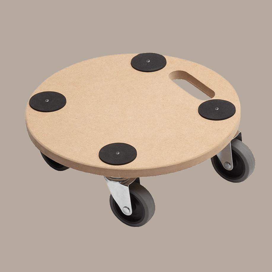 Мобилна поставка, кръгла Meister - плоскост от MDF, 4 бр. колела, елементи срещу приплъзван на товара.