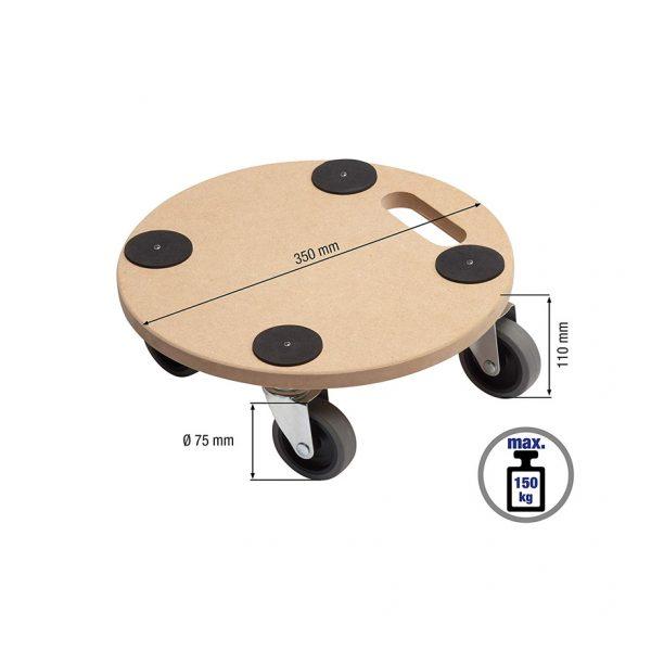 Мобилна поставка, кръгла Meister с нанесени размери. Показани са всички основни размери и зададената товароносимост - 150 кг.