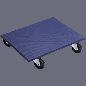Мобилна поставка, правоъгълна синя е с плоскост от MDF, противоплъзгащо покритие, 4 бр. колела и товароносимост до 400 кг.