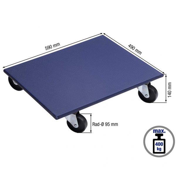 Мобилна поставка, правоъгълна синя има означени размери, които посочват най-важните ѝ размери.