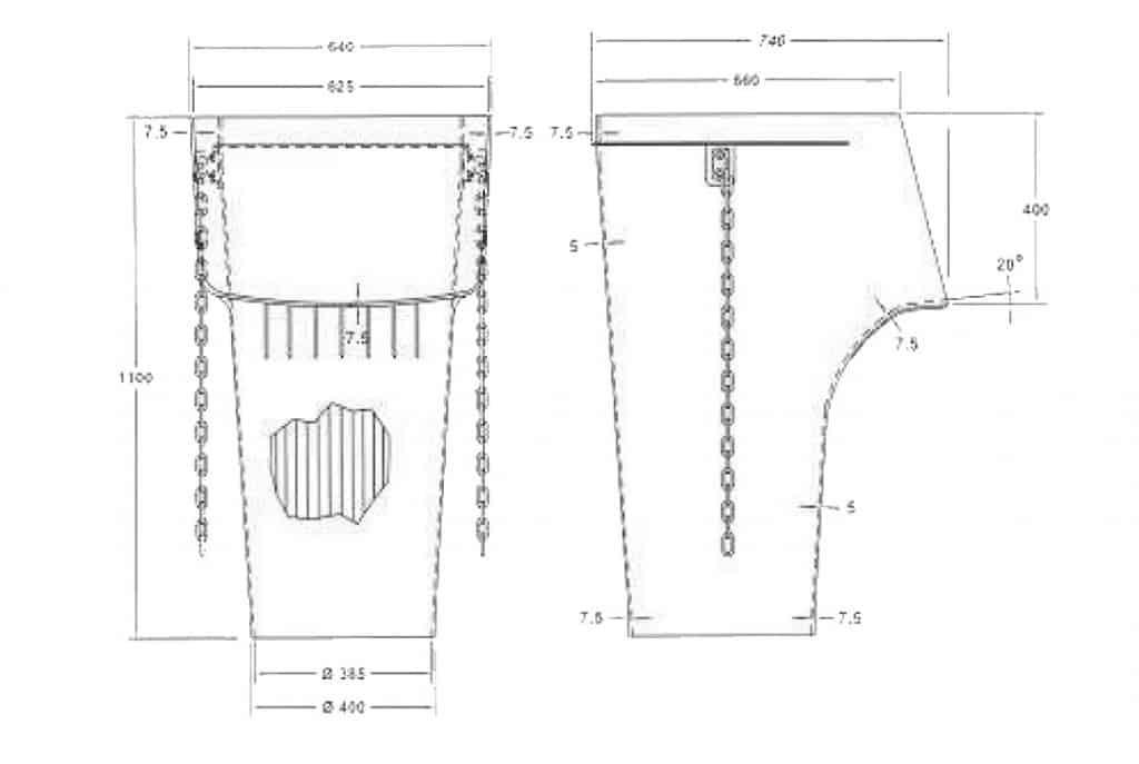 Направляващ улей арт. № 802011004 - чертеж с нанесени размери.