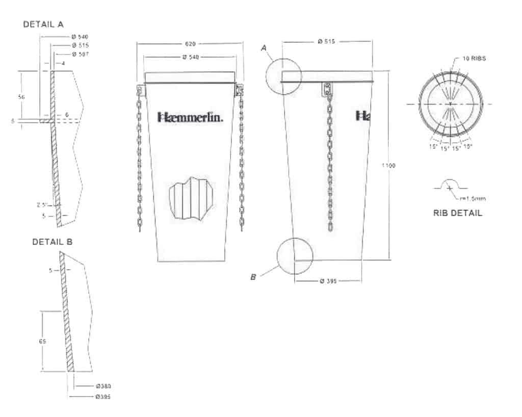 Улей арт. № 80 21 110 04 - схема с разрези и нанесени размери.