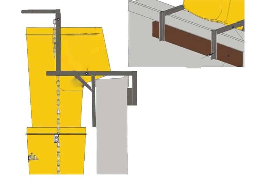 Улей с рамка фиксиран към стена - цветна схема за начина на захващане на универсална метална рамка с улеи към стена.