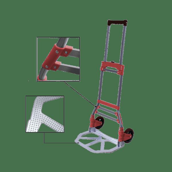 Транспортна количка DJTR 50 ST - червена е сгъваема със стоманена конструкция и червени укрепващи елементи.