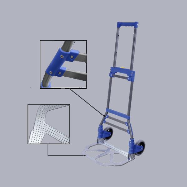 Транспортна количка DJTR 50 ST AL - на снимката са показани стоманена рамка, платформа, нитован корпус.