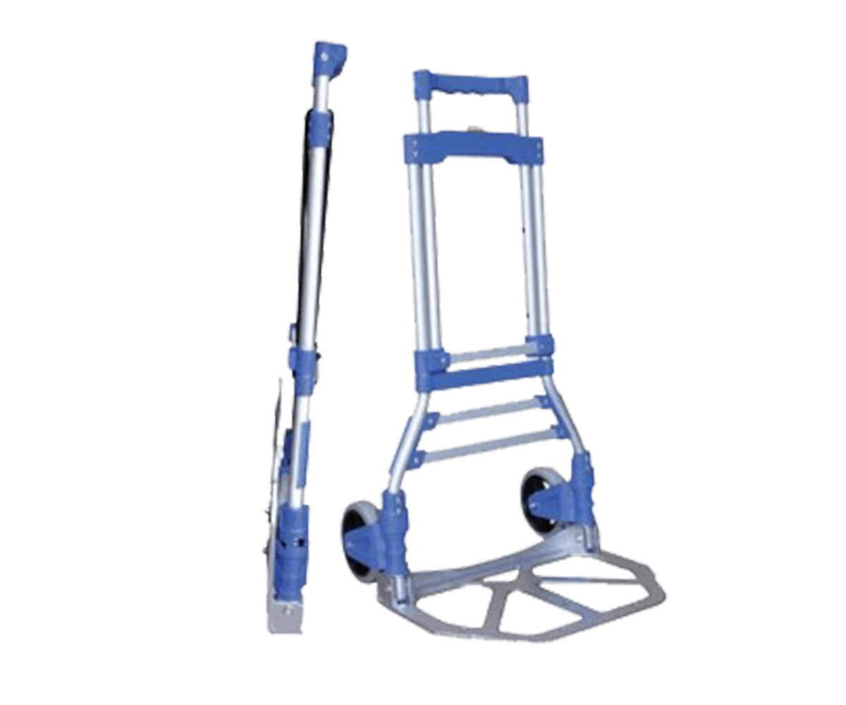 Транспортна количка DJTR 100 AL-синя. Сгъваема количка сгъната и разгъната на снимката.