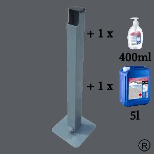 Безконтактна метална стойка за антибактериален гел - дезинфектант с по 1 брой гел диспенсер от 400мл и един от 5000мл.