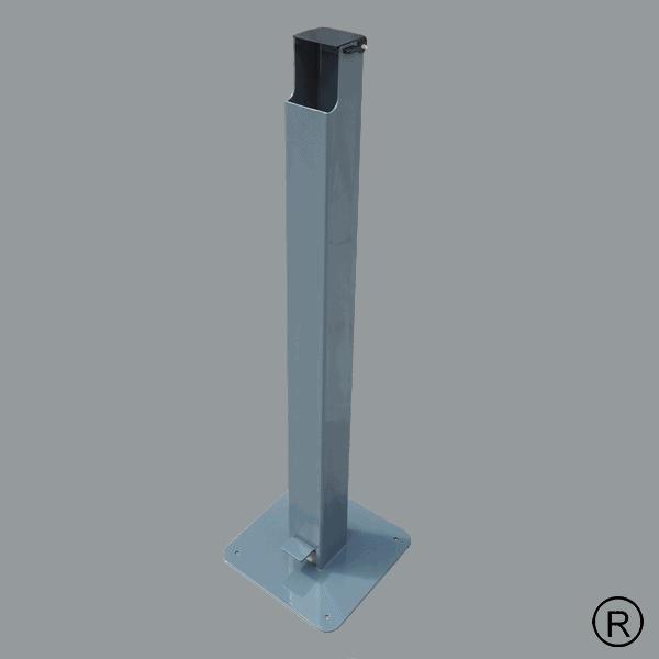 Безконтактна метална стойка за антибактериален гел в сив цвят
