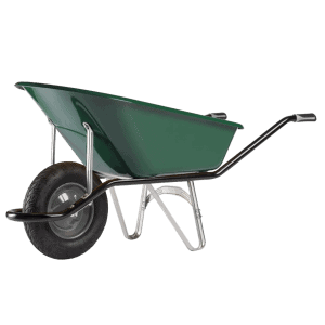 Строителна количка DJTR 110 Cargo Bati Haemmerlin - общ изглед: метално, боядисано корито, тръбна рамка, пневматично колело.